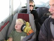 Sleepy kid in Cessna 182